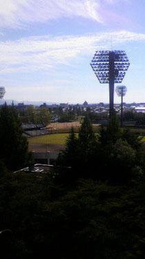 市役所に隣接する開成山野球場