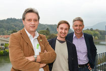 v.L.n.R. Günter Lesny (GU Bezirkssprecher), GR Stefan Rothbart (Stattegg), Lambert Schönleitner (Landessprecher, Spitzenkandidat 2015)