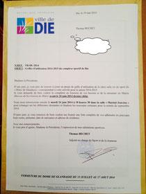 lettre reçue par une association Dioise