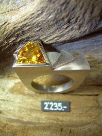 Bild:Ring,Palladium950,Citrin,Handarbeit,Unikat