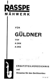 Ersatzteilliste Rasspe Mähwerk Güldner A2KS