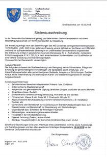 Stellenausschreibung, Quelle: Homepage Gemeinde Großriedenthal