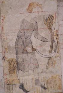 """""""Juillet"""", fresque de l'église de Paulnay"""