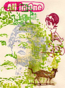 All in one (Maggie Cheung) 24x18cm mixed media on hand made paper 2011