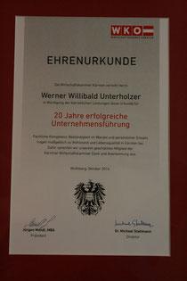 Urkunde zu Ehren des 20-jährigen Jubiläums des Unternehmens