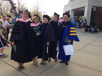 Dr. Giebelhausen (center) with Professors Palac, Snow, Taggart and Robinson at commencement