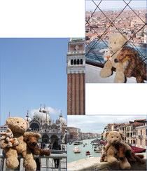 Kasimir, Cäsar und Fredi vor den Sehenswürdigkeiten Venedigs