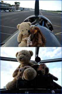 Kasimir, Cäsar und Fredi sitzen stolz auf der Nasenspitze Tante Ju's und in deren Cockpit
