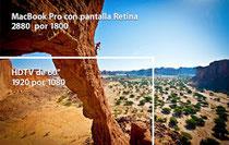 Con una resolución de 2880 por 1800 pixeles, la nueva MacBook Pro cuenta con 3 millones más de pixeles que una TV HD.