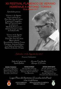 Cartel de actividades del XII FESTIVAL FLAMENCO DE VERANO DE PARADAS