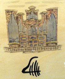 Eifert-Orgel Laucha, gemalt von unserem Fördermitglied Regina Hoffmann (Laucha).