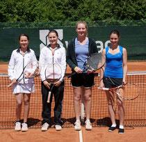Michelle Kayser, Elisa Kayser, Julia Thomé und Lisa Lößlein von den Damen 1 des TC Rot-Weiss Dillingen.