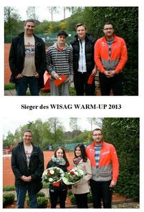 Patrick Gindorf als 1. Vorsitzender und Daniel Kalleder als Sportwart des TC Rot-Weiss Dillingen konnten die Sieger und Zweitplatzieren mit Scheck und Blumen beim 5. WISAG WARM-UP beglückwünschen.