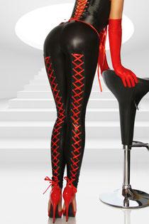 Legging mit Schnürung rot