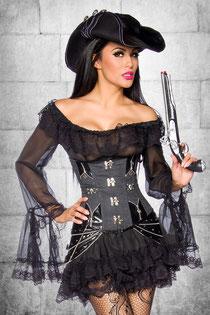 Kleid mit Volantrock schwarz