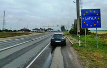 Der Grenzübergang Litauen - Lettland.