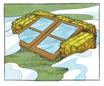 干草と古い窓枠で栽培時期を伸ばす