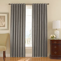 Orla Velvet Blackout Curtain Panel lined  gray 95 inches long $55 ea
