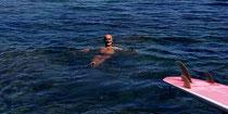 Aujourd'hui 16 août c'est détente dans une crique à Port Bout (Espagne)avant de reprendre les pinceaux