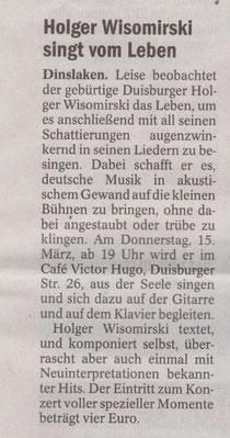 Konzerthinweis, NRZ,10.03.12