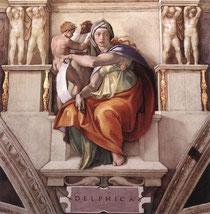 """Sibila Délfica. Frescos de """"El juicio final"""" pintados por Miguel Ángel"""