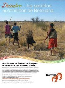 El nuevo anuncio de Survival alienta a los turistas a boicotear Botsuana por su trato a los bosquimanos. © Survival