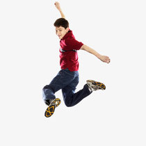 A young man jumping with excitment