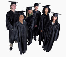 College graduation with students wearing their graduation gowns