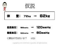 仮説 体重を72kgから62kgに減量すれば、血圧も正常値へ戻るのではないか?