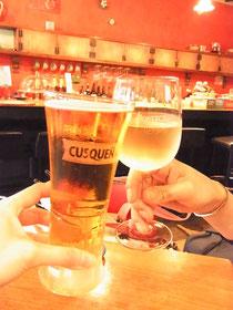 マチュピチュのビールとイタリアンワインで乾杯!