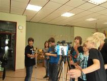 Jugendliche beim Trickfilmworkshop