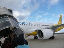バニラエアーの機体と搭乗風景