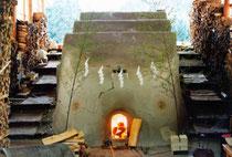 big multi-chambered climbing kiln
