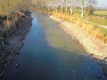 le Canal du Midi en hiver, en partie vidé.