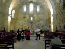 répétition avant le concert dans l'église de Rieunette