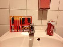 Super saubere Toiletten und Flyer für andere Veranstaltungen gibt es hier auch noch