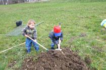 Felix und Lukas beim Bäume pflanzen