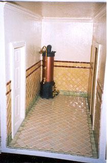 Bathroom, floor and wall tiled