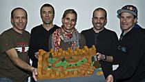 Präsentieren ihren Pumptrack am See: Die Initianten (von links) Ivo Bürge, Suso Untersander, Katja Rupf, Roger Walser und René Wildhaber. (Bild Peter Jenni)