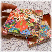 #219 Cartonnage box with Spanish paper
