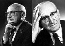 Vordenker des Neoliberalismus: Milton Friedman/Chicagoer Schule (links) und Friedrich August von Hayek/Österreichische Schule (rechts)