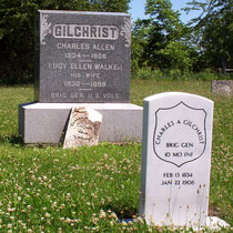 The family and government headstones for Charles Allen Gilchrist