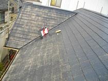 屋根塗装 施工前(シーラー塗布中)