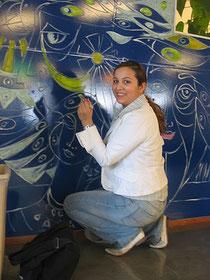 Muurschilderijn, een ras, bij ROC ravaelaan 13 in Utrecht