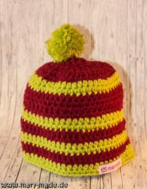 Mütze mit Bommel - geringelt