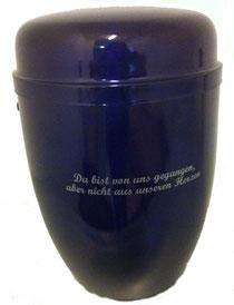 Urne aus Stahl mit Violetten Metallic Evekt