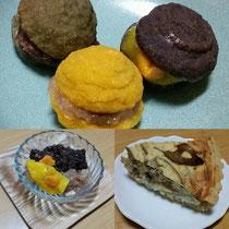 高野豆腐でつくった、カボチャ、チョコ、よもぎマカロンと、それにはさんだジャムたち。右下は師範科卒業生の佐野さんの玄米キッシュ、美味しかったです!