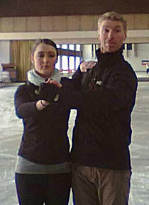 Kathi und Ex-Weltmeister Olivier Schoenfelder beim Training in Oberstdorf