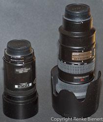 180/2.8 (links) und 70-200/2.8VR