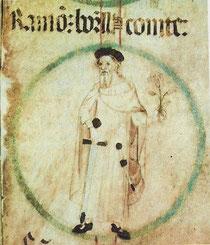 Ramón Berenguer I.  (Genealogische Rolle.../ Poblet/ um 1400)